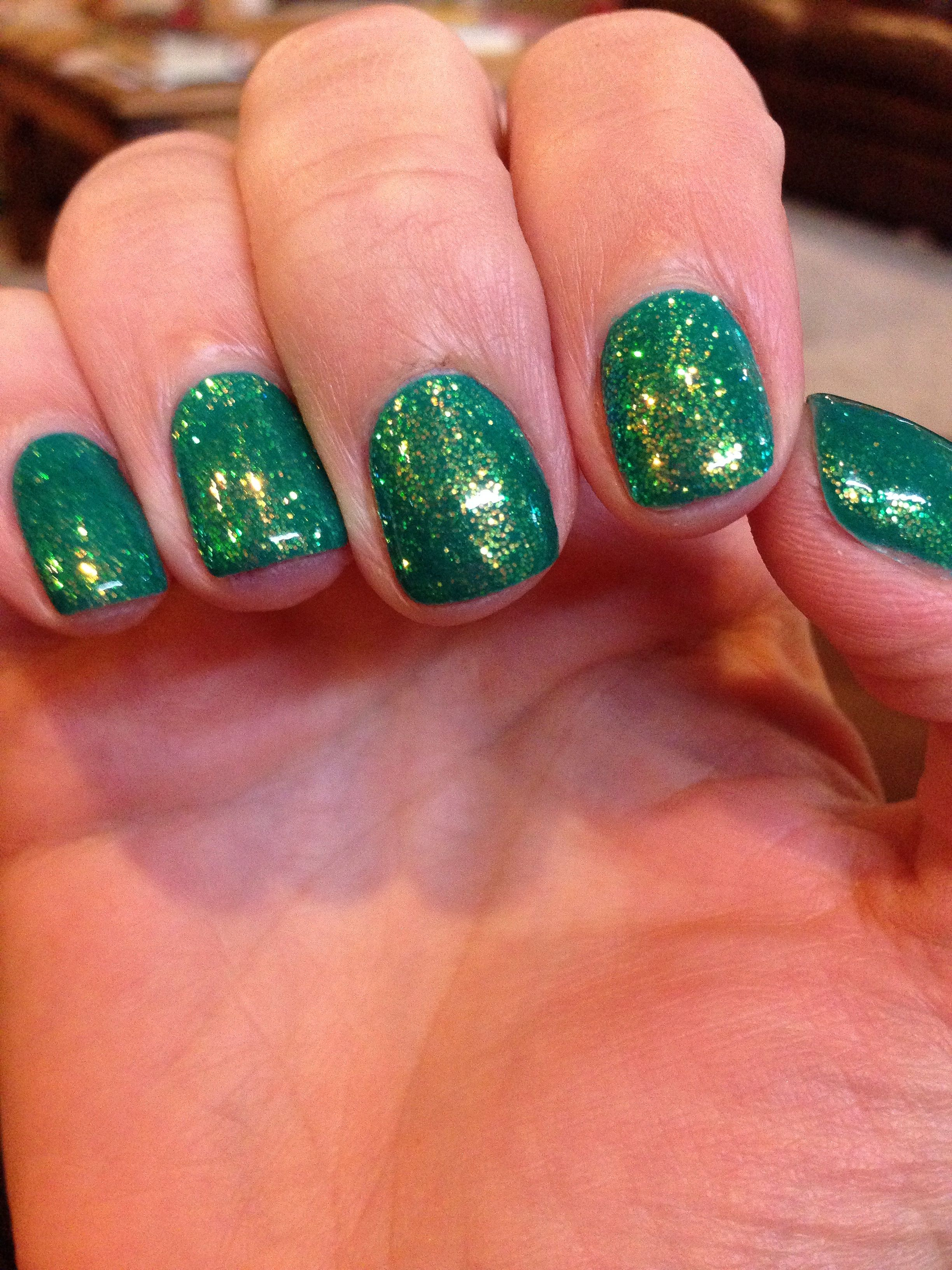 My emerald green gel nails for march ! | My Gel Nails | Pinterest