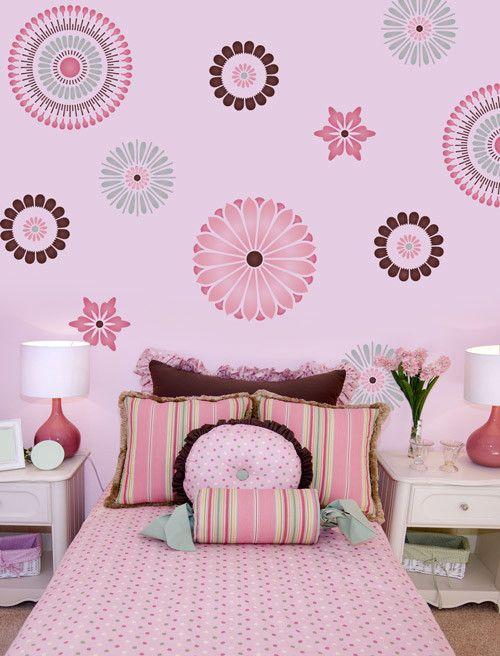 صورة ديكور غرفة اطفال شقة دوت كوم Floral Wall Stencil Stencils Wall Stencil Painting On Walls