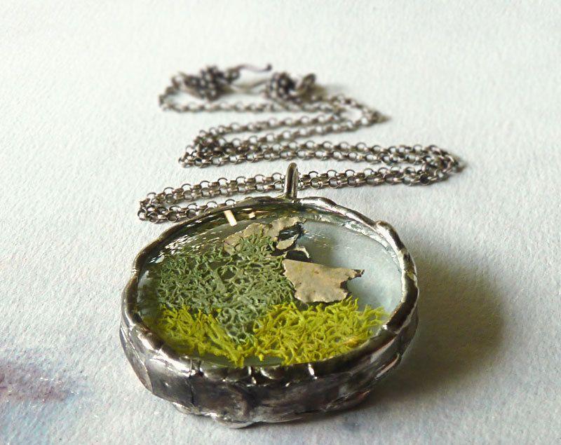 Green+Moss+Lichen+Pendant+Necklace+Sterling+by+RenataandJonathan,+$95.00