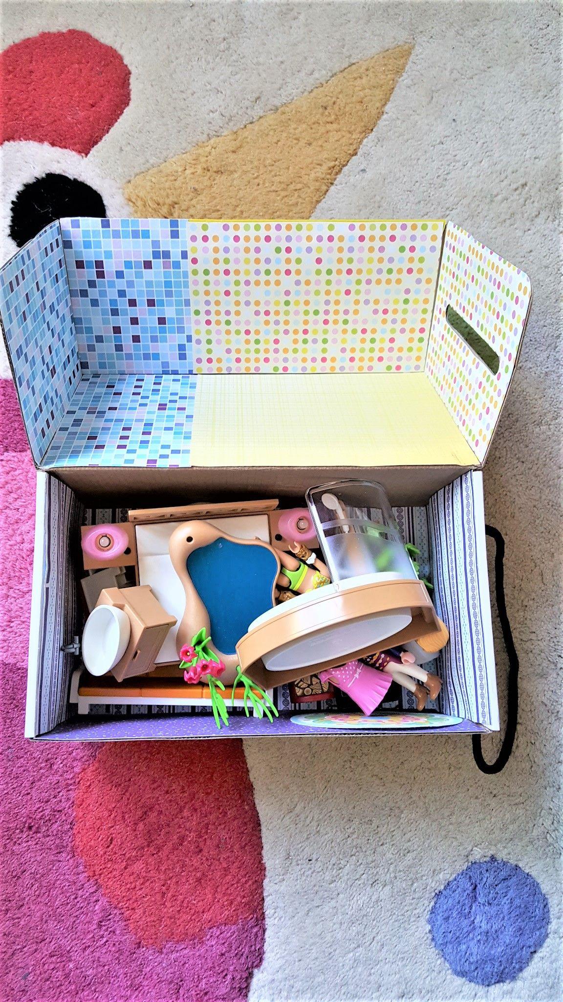r cup ration diy playmobil maison maison nomade carton bo te chaussures poup es jeu. Black Bedroom Furniture Sets. Home Design Ideas