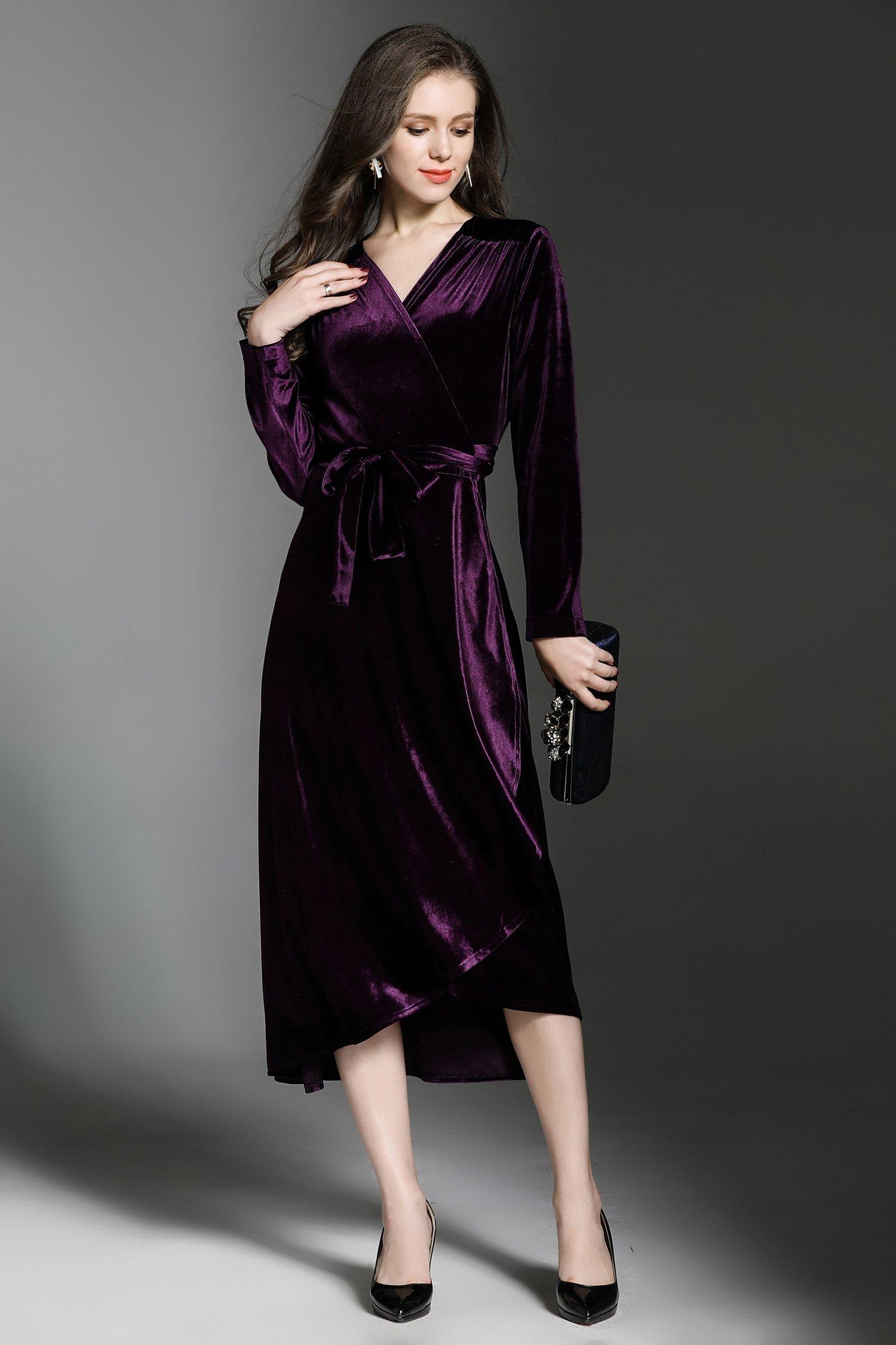 6c0eed6c715 Velvet Wrap V-Neck Long Sleeve Midi Dress - ATLASDAY