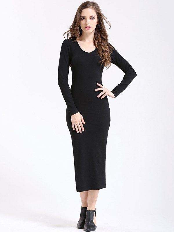 Names miss bodycon dress long sleeve maxi up for women evening