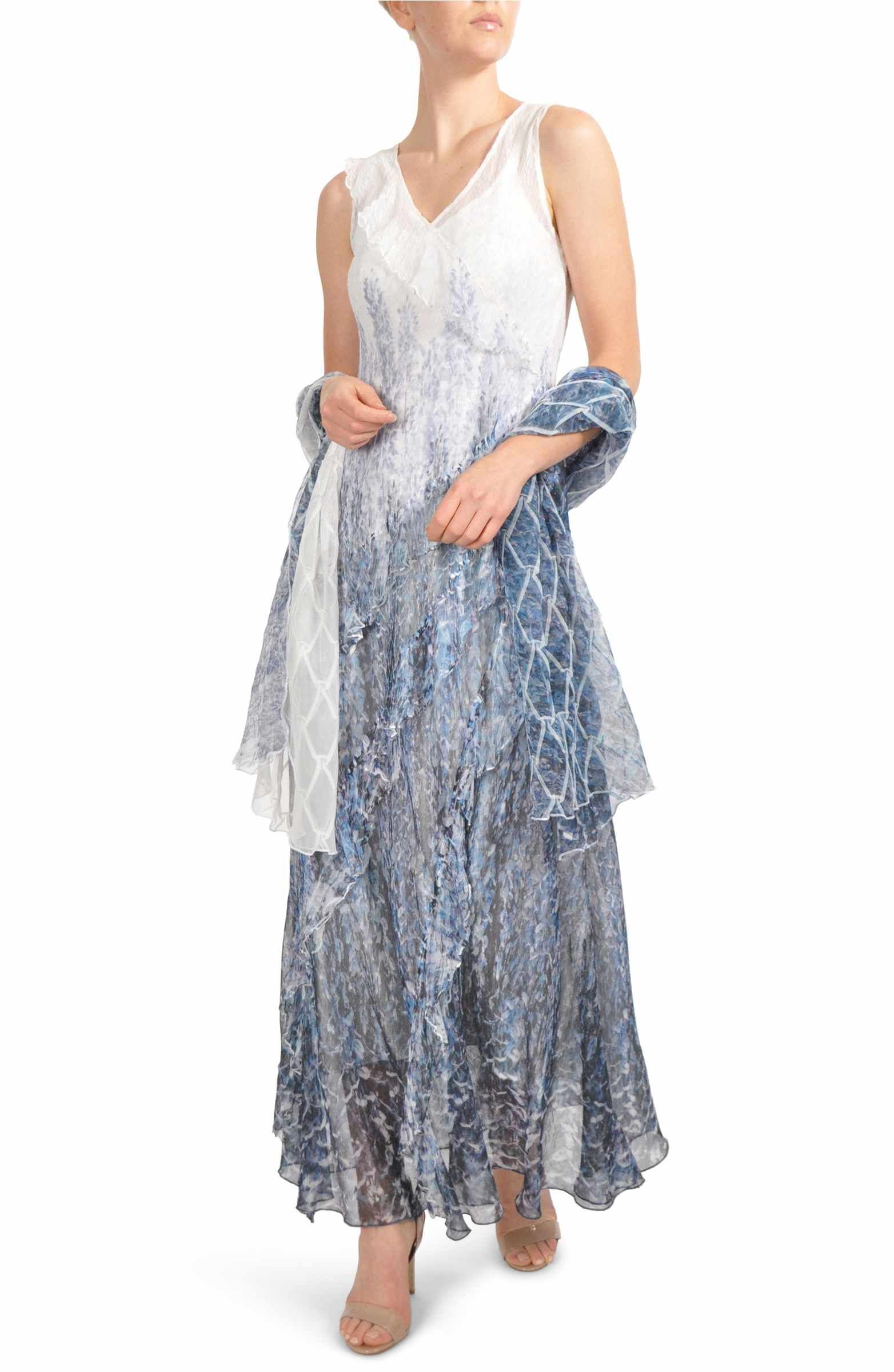 Mother of the bride wedding dresses nordstrom  Main Image  Komarov Ruffled Charmeuse u Chiffon Gown with Wrap