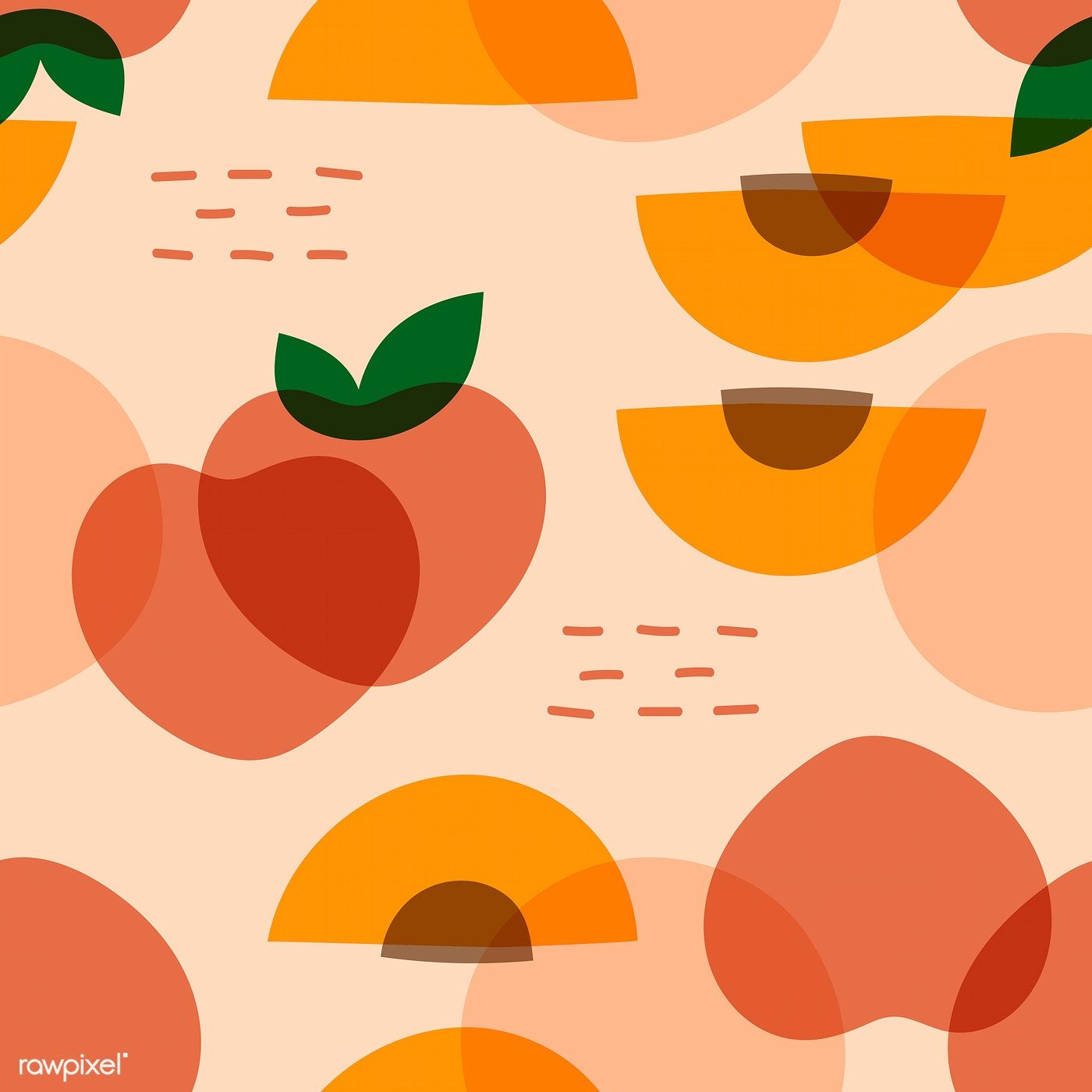Tropical peach fruit pattern vector | free image by rawpixel.com / NingZk V.