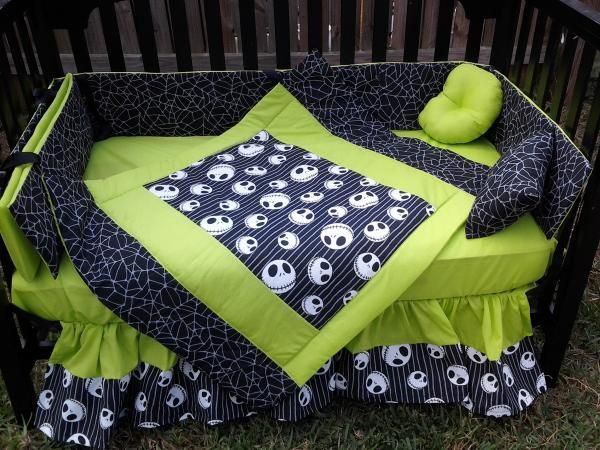 new crib bedding set m w jack nightmare before christmas fabric