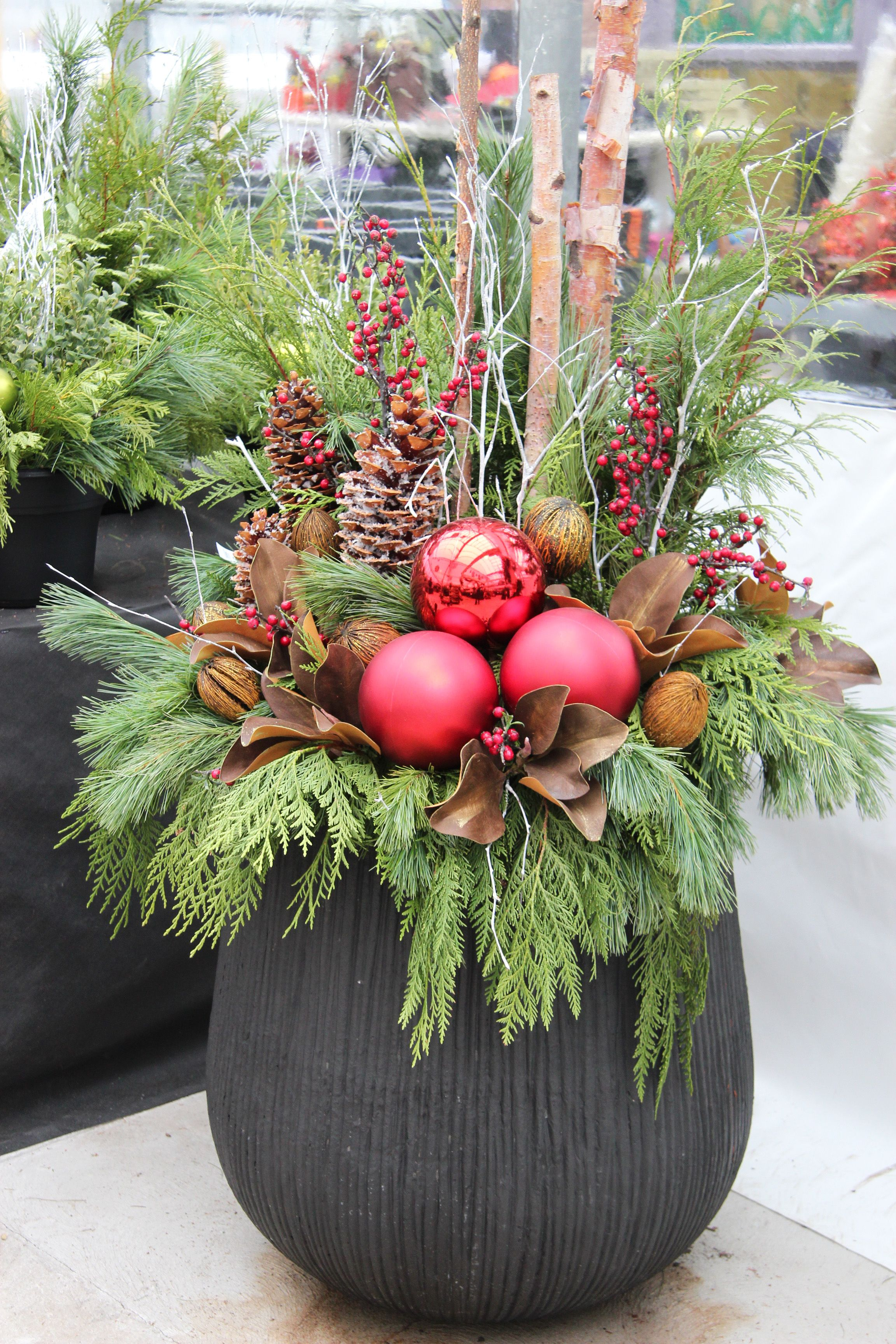 Outdoor Christmas Planter … Holiday Planters