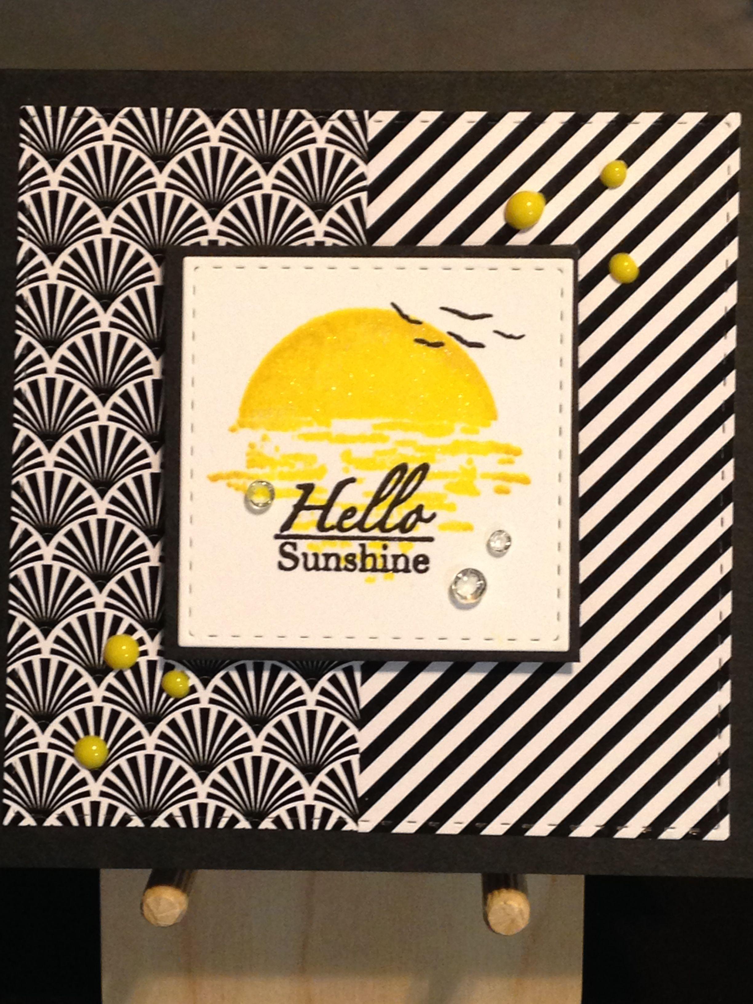 Hello card gina k framescape tropical skies stamp set