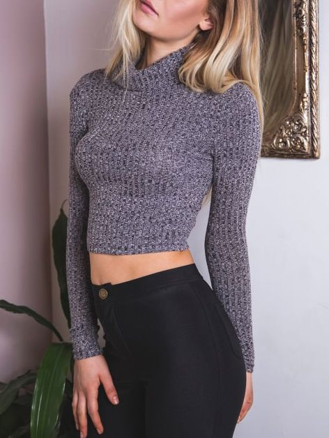 Grey Turtleneck Long Sleeve Crop Sweater -SheIn(abaday)