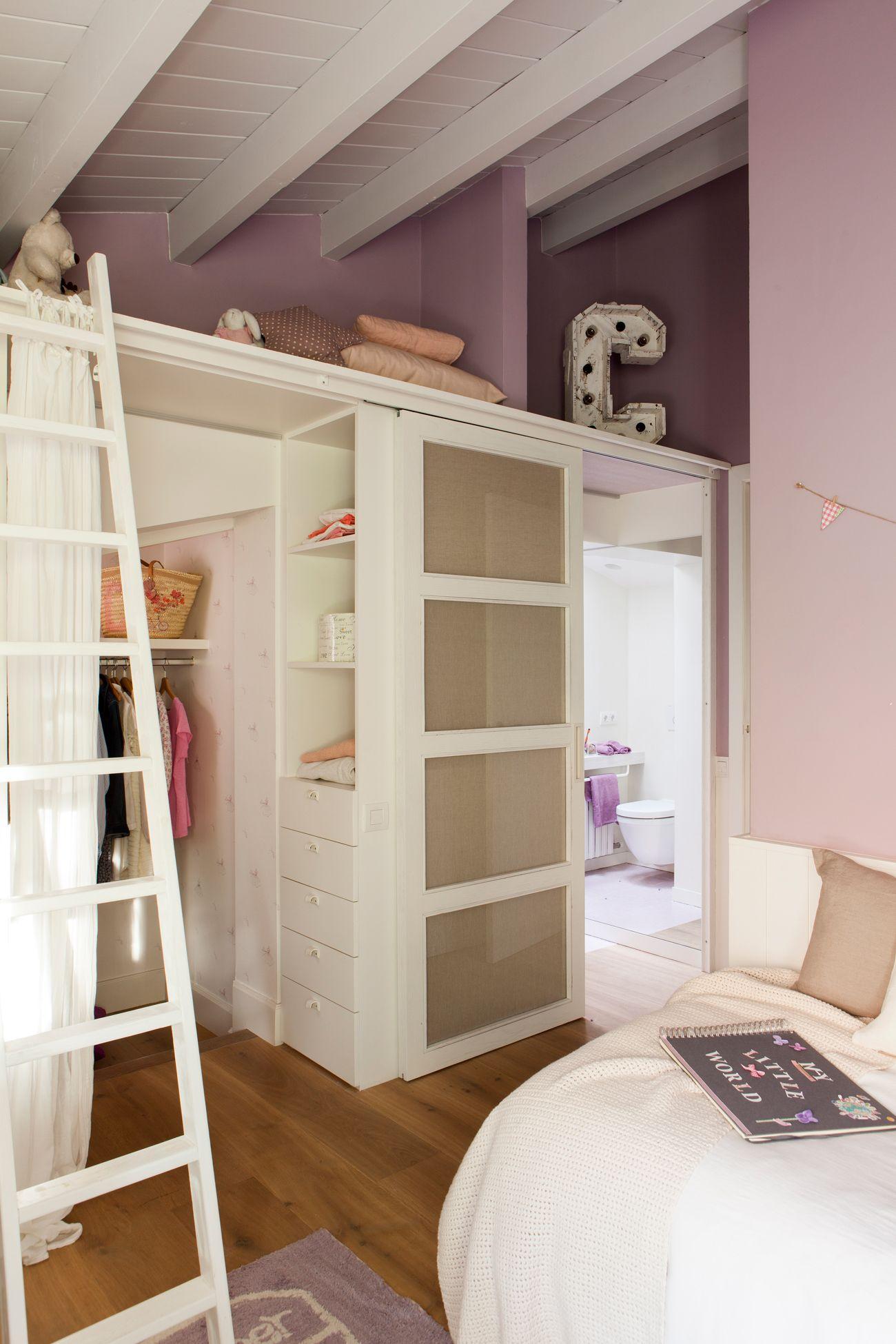 Vestidor O Armario De Habitaci N Infantil En Blanco Y Rosa Con  ~ Vestidores En Habitaciones Pequeñas