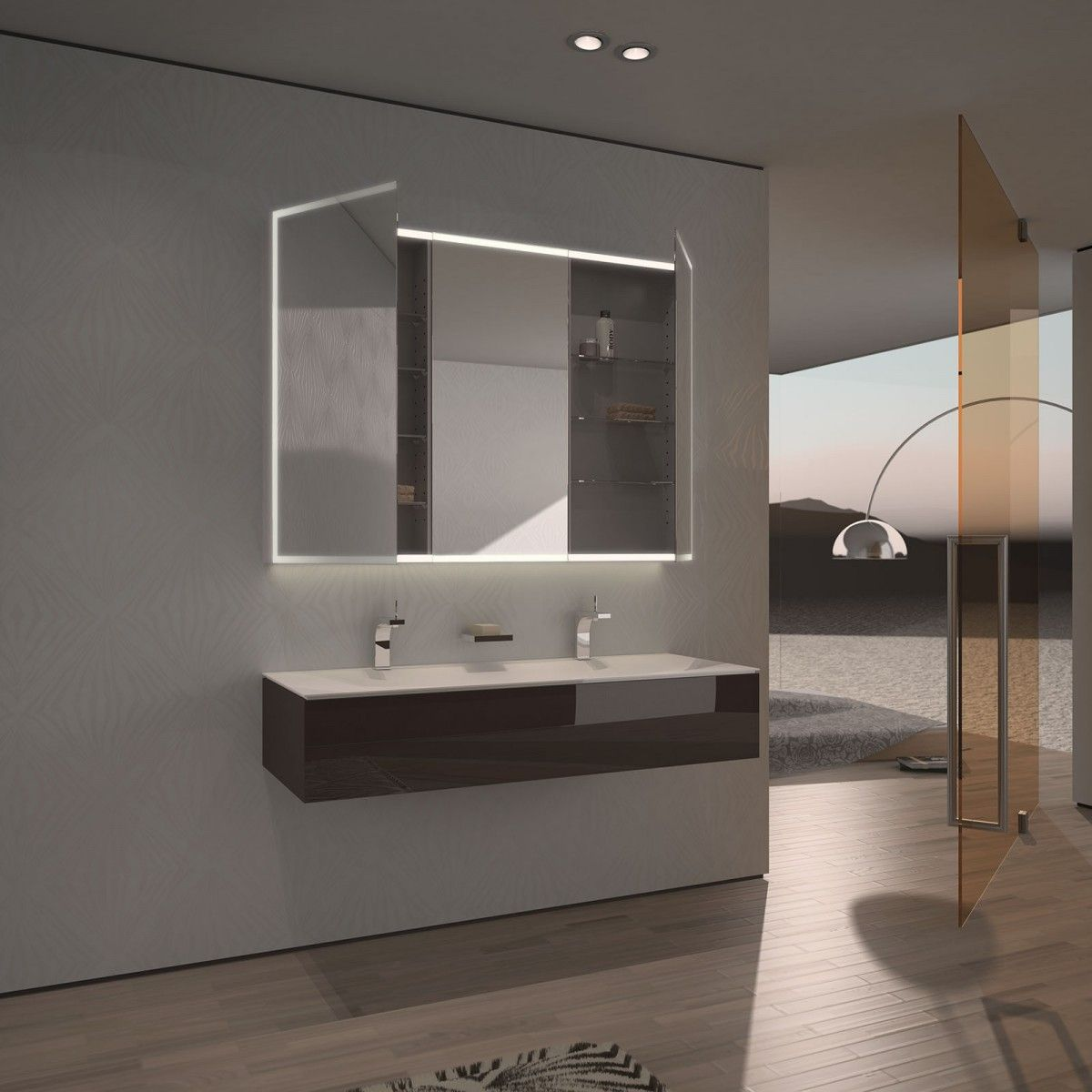 spiegelschrank nach ma mit led credo r ume pinterest spiegelschrank led und badezimmer. Black Bedroom Furniture Sets. Home Design Ideas