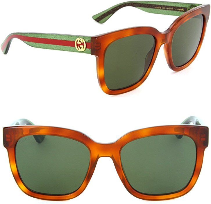 5f80b321a33d8 Amazon.com  Gucci GG 0034S 003 Havana Plastic Round Sunglasses Green Lens   Clothing Summer collection for Mens.Shoes Sunglasses for your face shape.