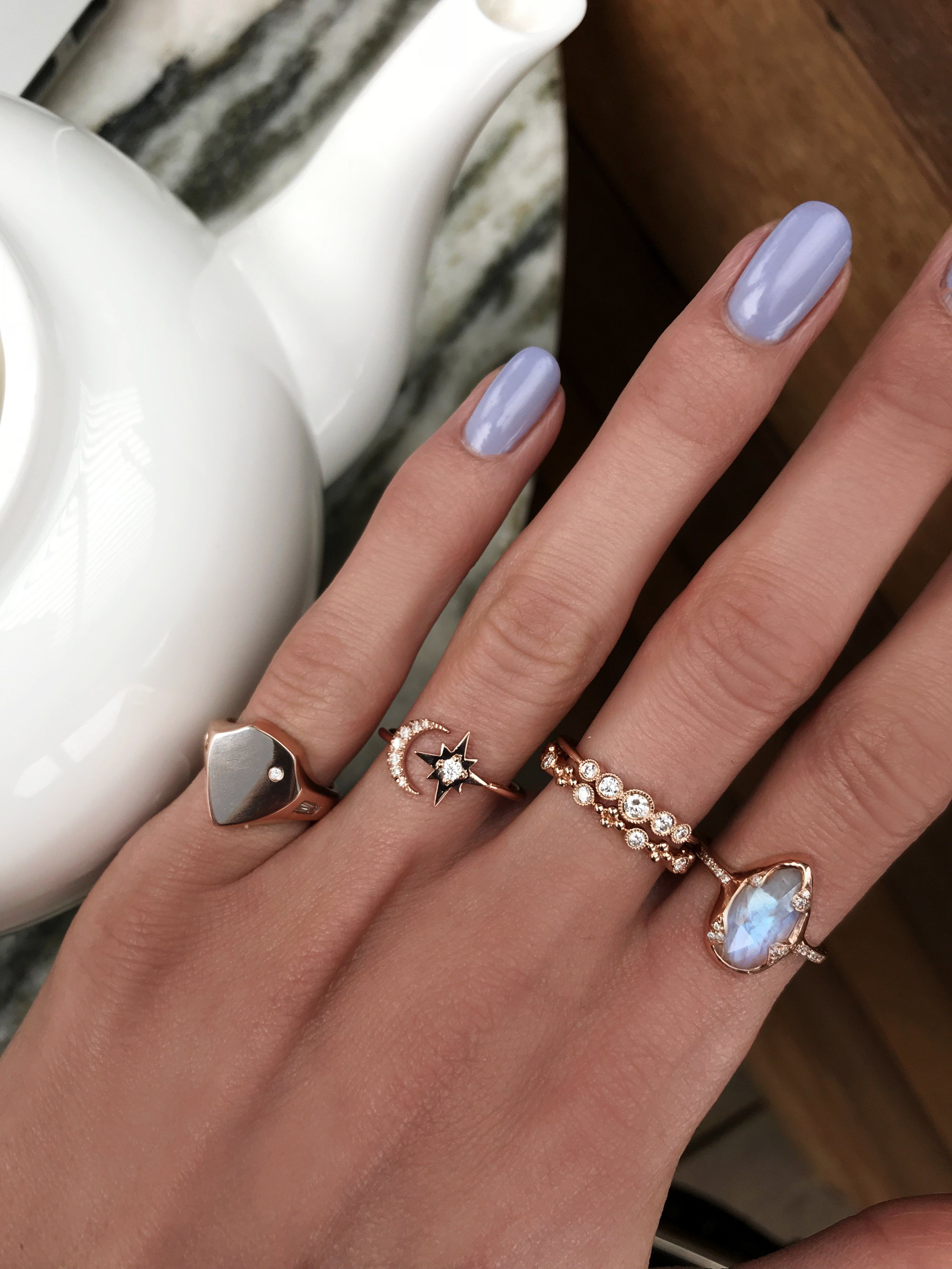 14kt gold and diamond moonstone claw ring Jewelry, Fine