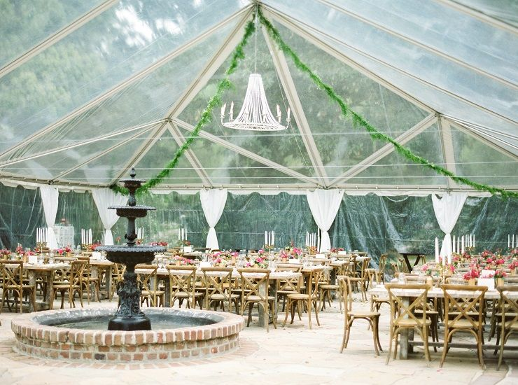 wedding reception at the fountain patio and under a clear tent! fabmood.com