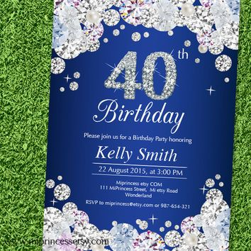 Glam birthday invitation, Rhinestone diamond elegant invite 30th 40th 50th 60th 70th 80th 90th adult birthday design - card 629