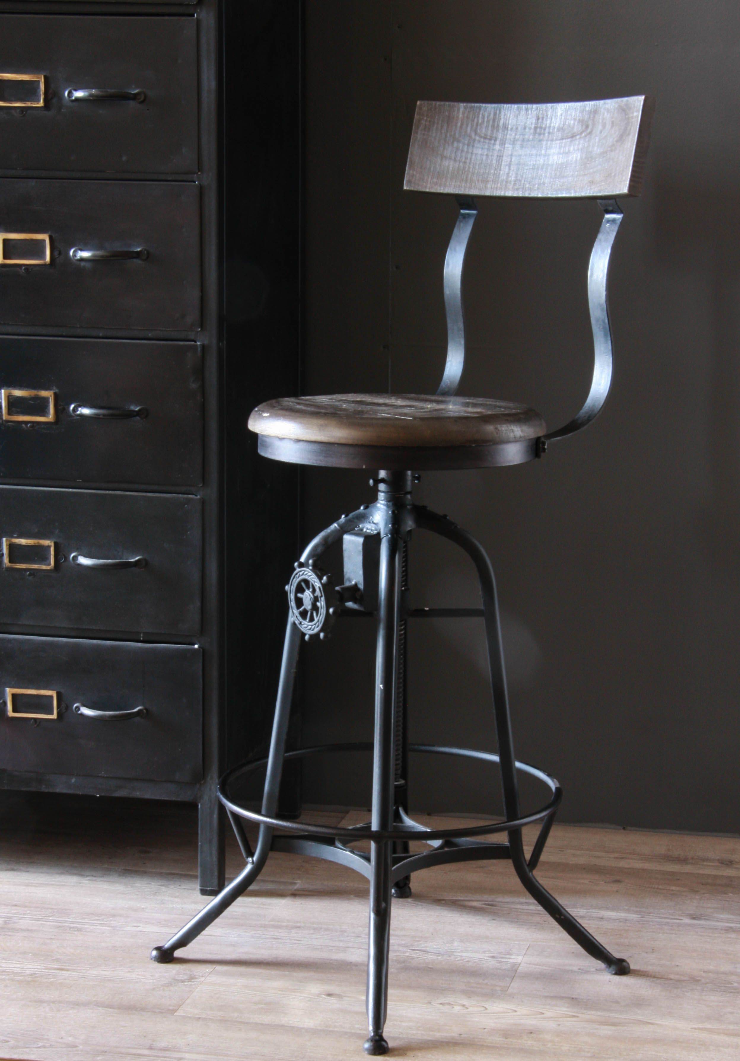Clock House Stool With Back Rest Buy Now From Wheresaintsgo Co Uk For 175 00 Unique Furniture Design Chair Style Mod Furniture