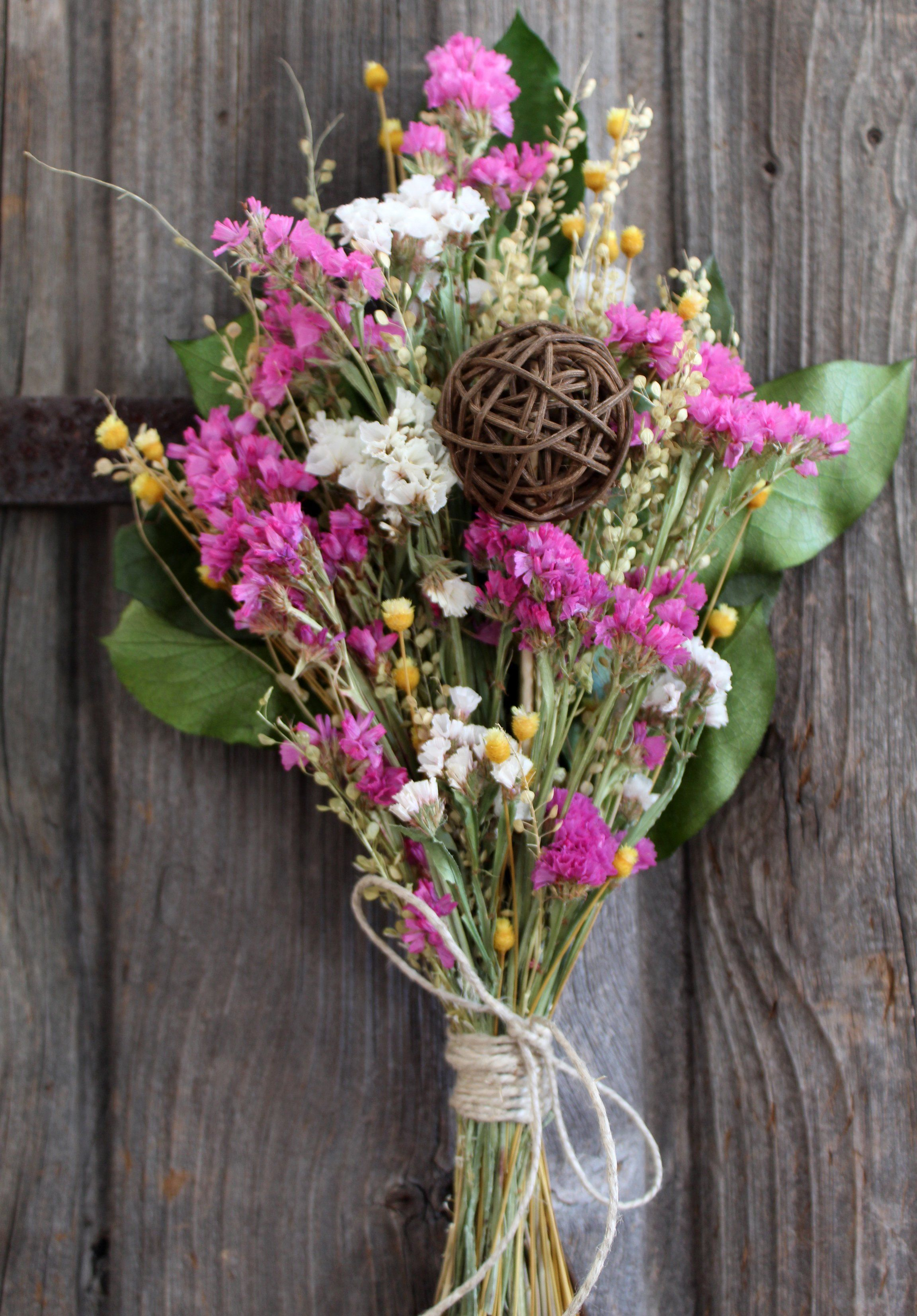 Dried Flower Bouquet Pink Statice Twig Bridal Home Decor For Those