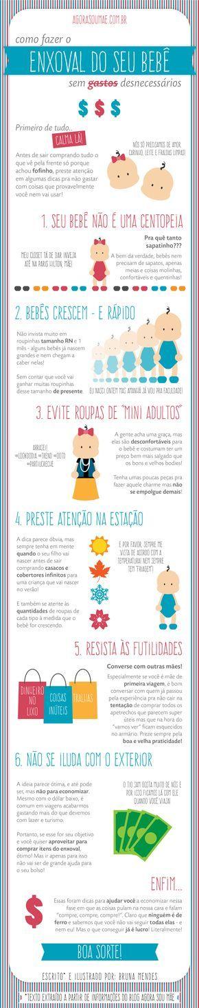 Infográfico - Dicas de como fazer o enxoval do seu bebê sem gastos desnecessários.