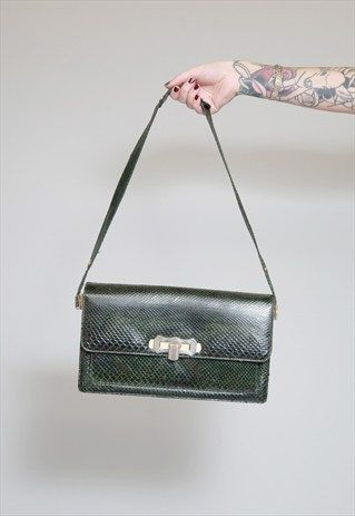 Vintage 1970's Forest Green Textured Leather Handbag
