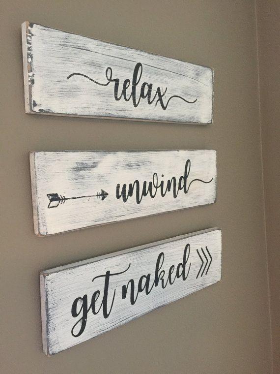 Bathroom Decor Relax Unwind Get Wood Signs