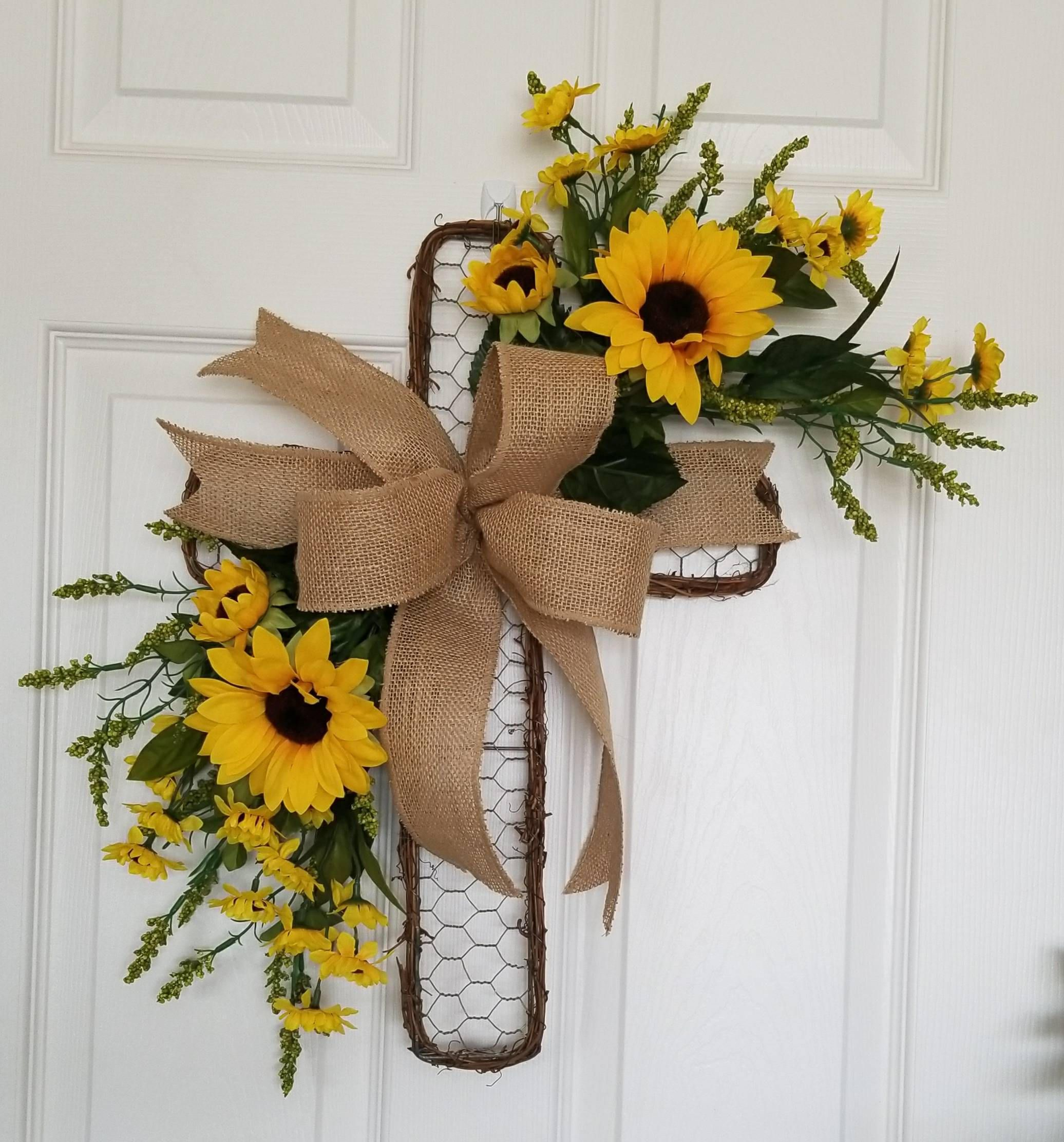 Cross Wreath Spring Cross Floral Cross Cross Door Hanger Front Door Wreath Sunflowers Wreath Mother S Day Cross Wreath Easy Fall Wreaths Cross Door Hangers