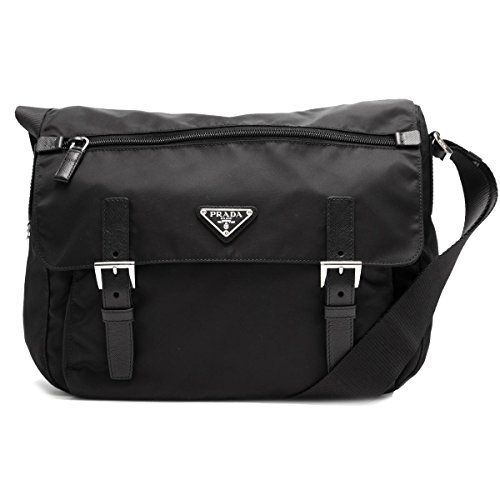 b7c3365bb4e2ae SALE PRICE - $950 - Prada Women's Black Nylon Fabric Crossbody Messenger Bag  1BD671