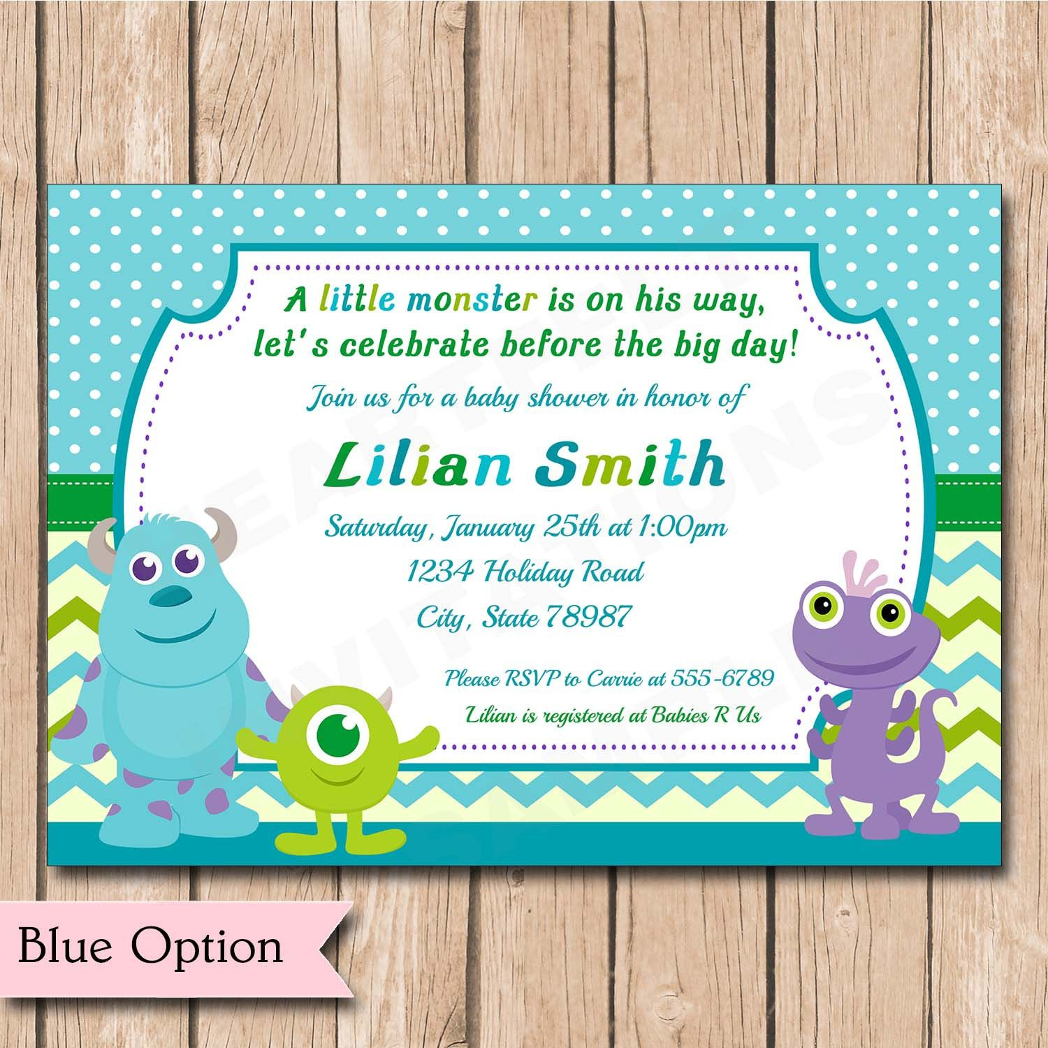 Mini Monsters Inc. Baby Shower Invitation | Boy or Girl, Neutral ...