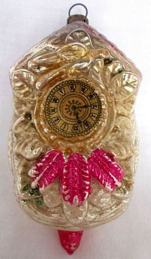 Old German Glass Cuckoo Clock Christmas Ornament 3 6 Inches