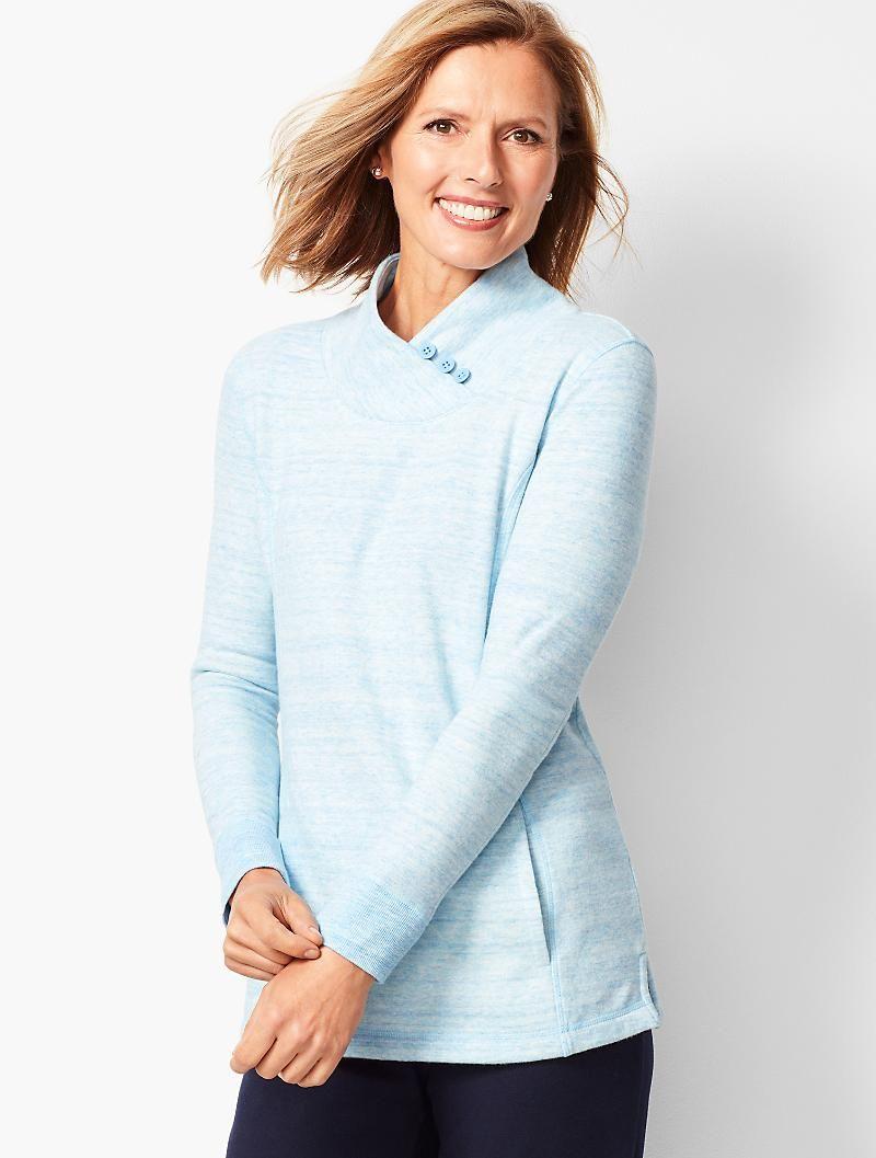 a799081a019 Heathered Fleece Wrap-Neck Tunic | Fashion | Neck wrap, Tunic, Wraps