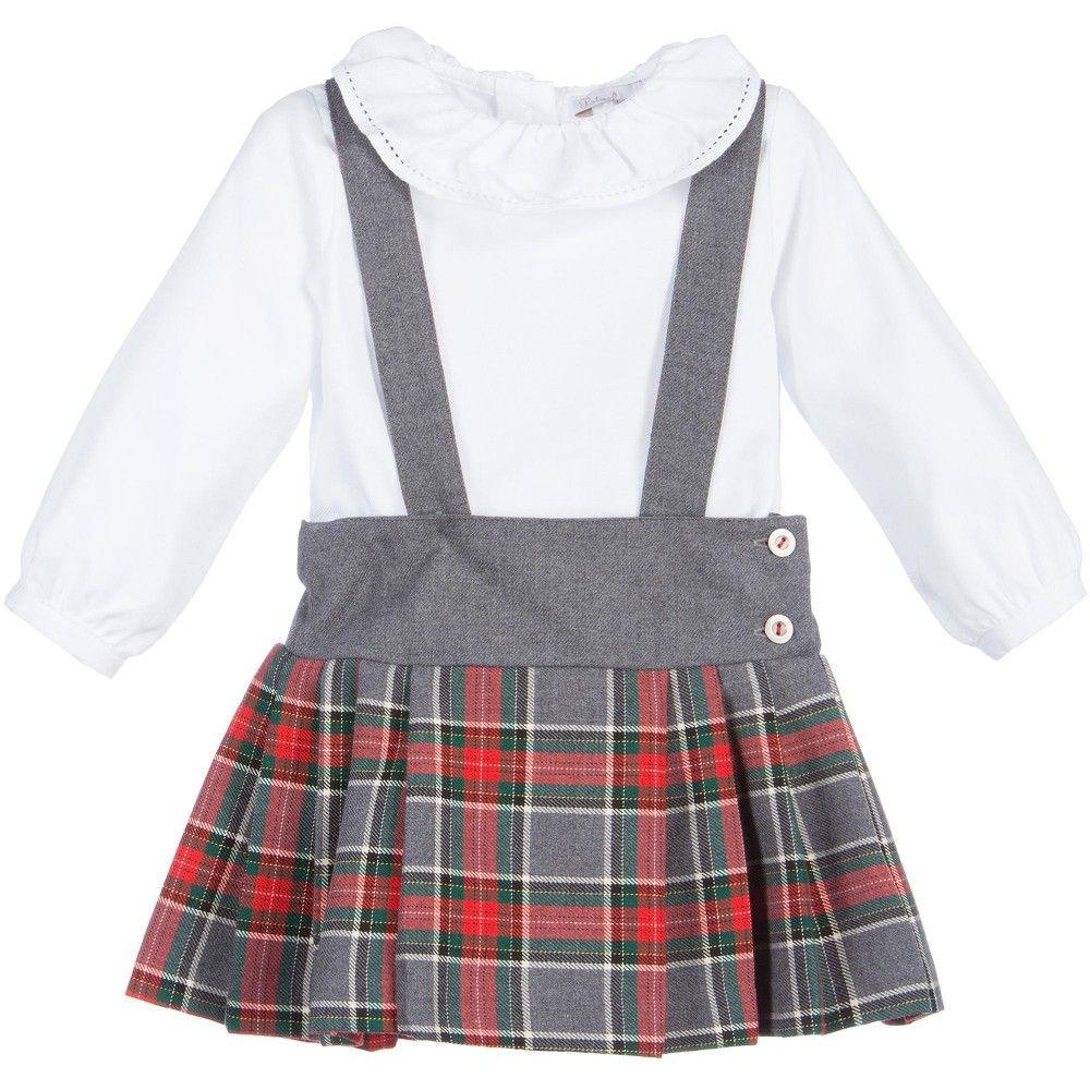 bcfccf4d3a Patachou Baby Girls Grey Tartan Skirt & Blouse Set at Childrensalon.com