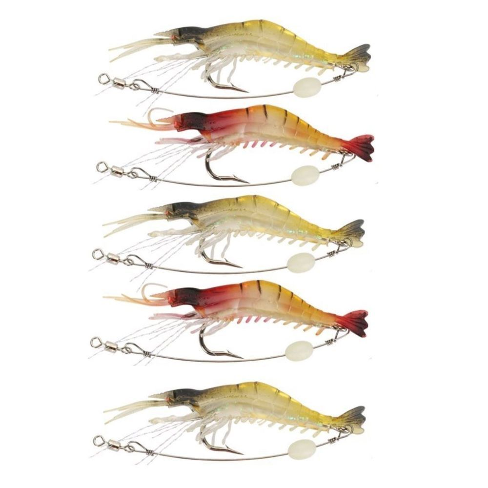 5x GLOW Rigged Prawn Shrimp Fishing Lures Soft Plastic Baits Lure Flathead Bream