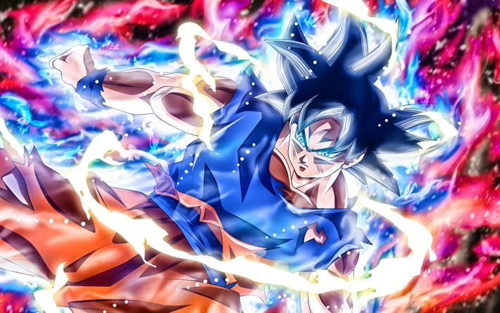 Download wallpapers Ultra Instinct Goku, fire, neon lights