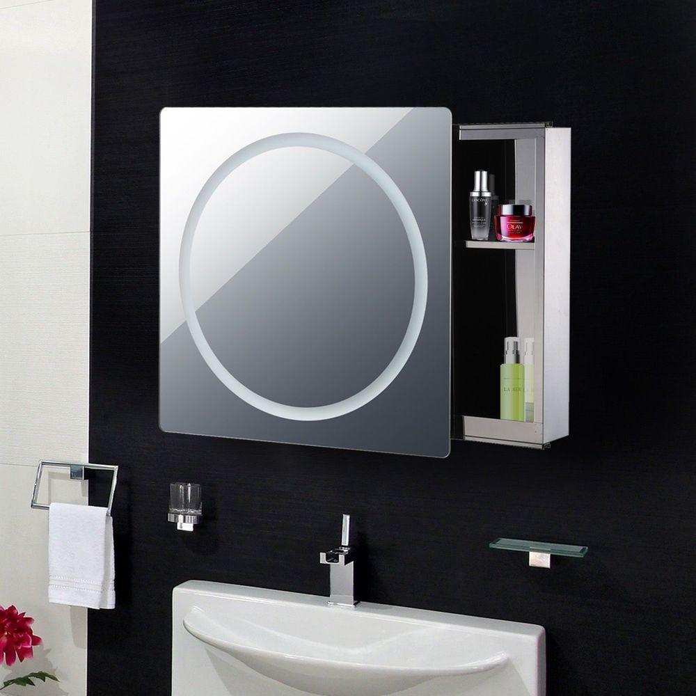 Wall Mounted Bathroom Mirror Cabinet Sliding Door Led Lights