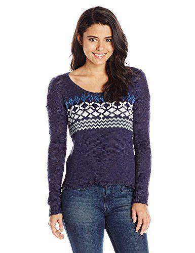 Roxy Juniors Cape Cod Crew Neck Sweater, Bengal Placement Peacoat Strip, Medium
