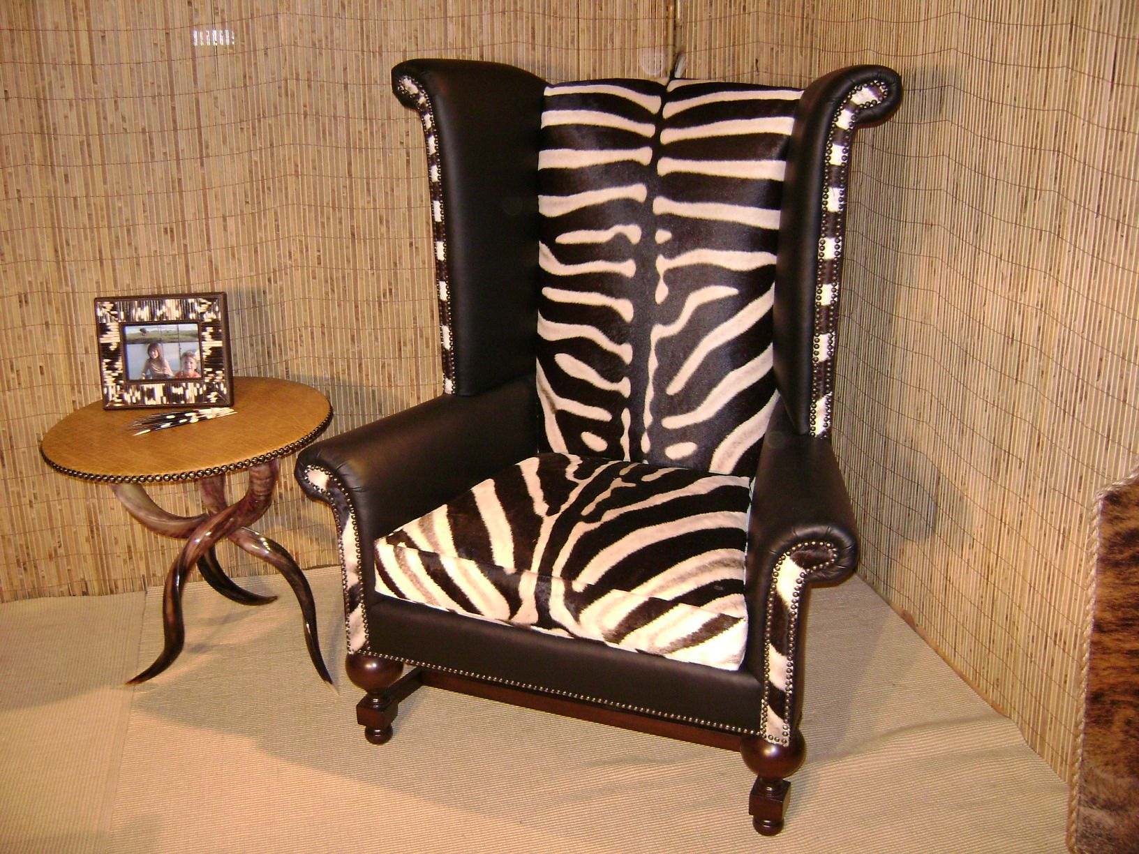 Captivating African Chair | Zebra Wingback Chair