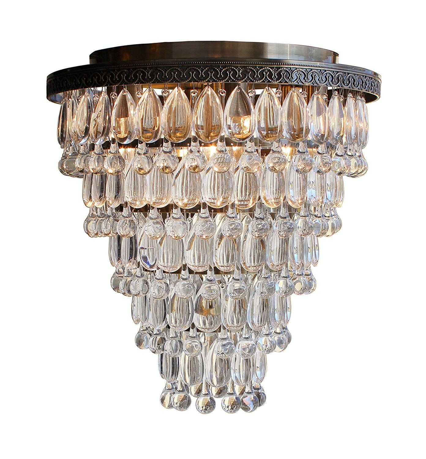 The Weston Extra Large Antique Brass Flush Mount Crystal Drop