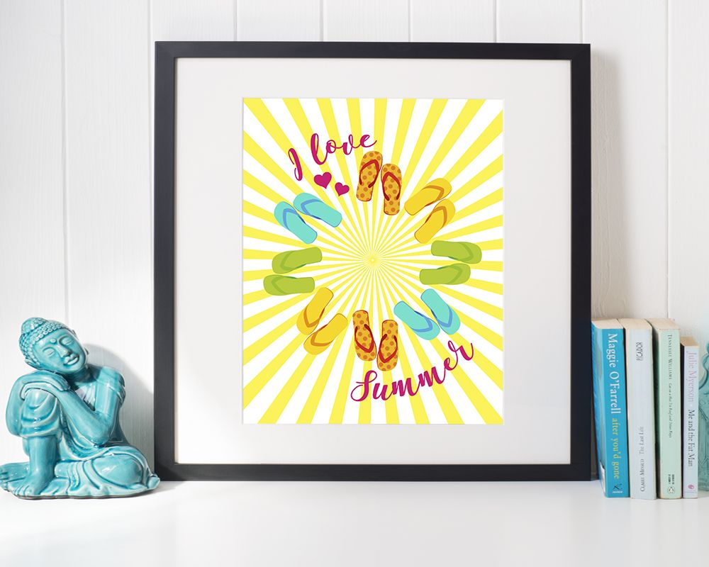 Loving this cute summer beach theme flip flops printable wall art print. It's giving off some serious summer vibes!   This instant download modern wall art is the perfect gift for a summer party, BBQ or birthday and will guarantee to brighten up any wall in your home.
