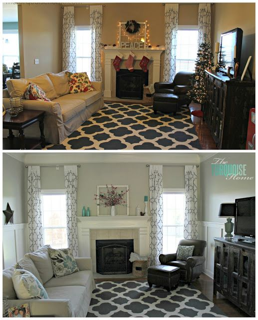 Diy Small Living Room Makeover Open Floor Plan Part 7 Final Reveal Pinterest Pottery Before After Gorgeous With Beautiful Board And Batten Barn Sofa Stenciled Curtains Warm Wood Pops Of Turquoise