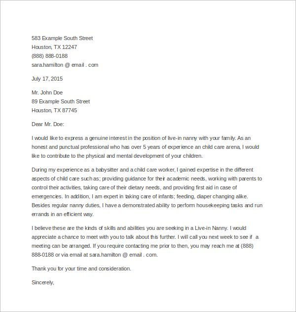 Best cover letter for nanny or babysitter Alicia Keys Time to - nanny contract template