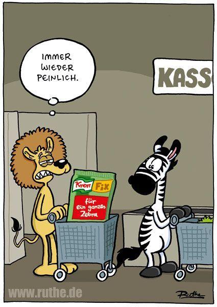 Zebra Lowe Supermarkt Kasse Essen Mittag Mahlzeit Knorr Fix Kochen