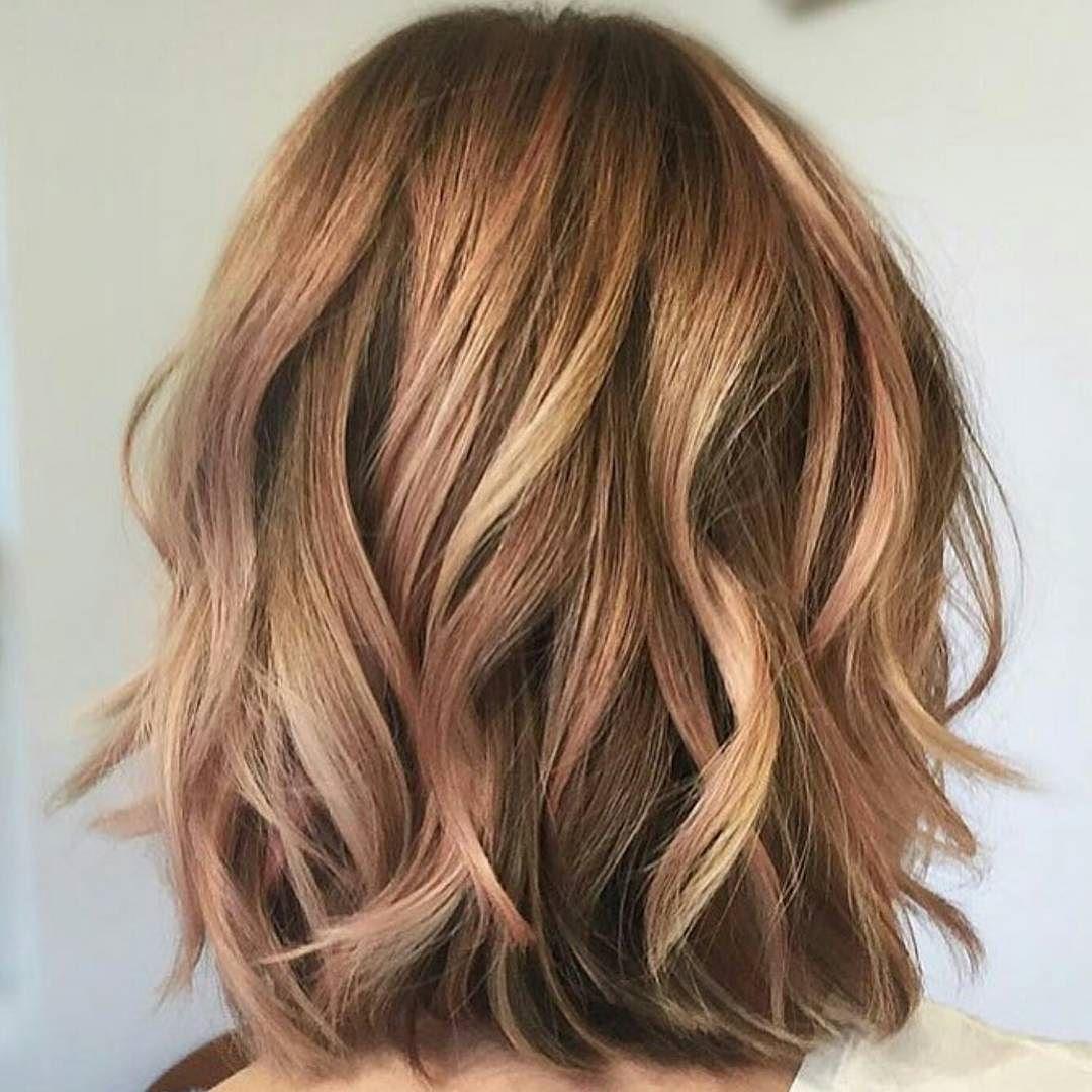 Strawberry bronde balayage bob by kellymassiashair blonde