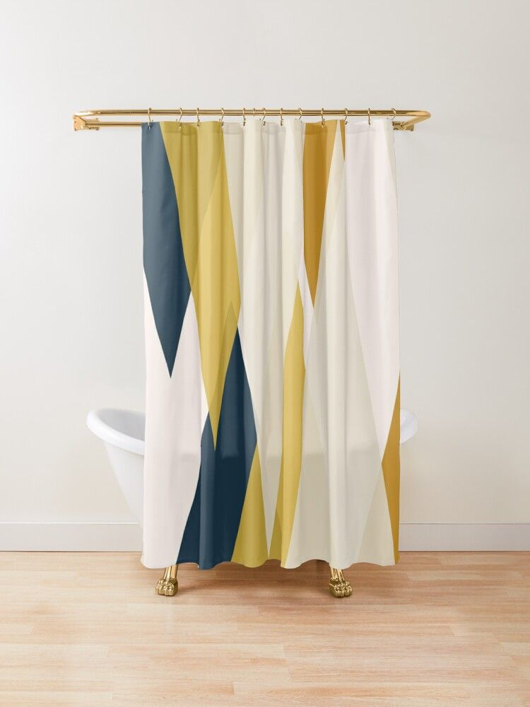 Triangular Abstract In Mustard Yellows Navy Blue And Blush Tones
