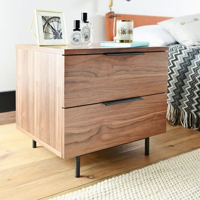 The Slim Profile On The Antwerp Bedside Table Is Covered In A Warm