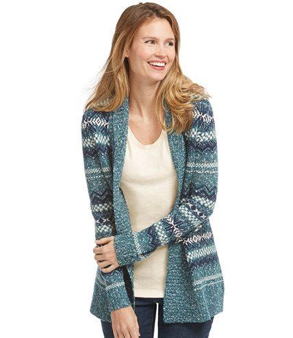 Women's Textured Stitch Open Cardigan, Fair Isle   Free Shipping ...