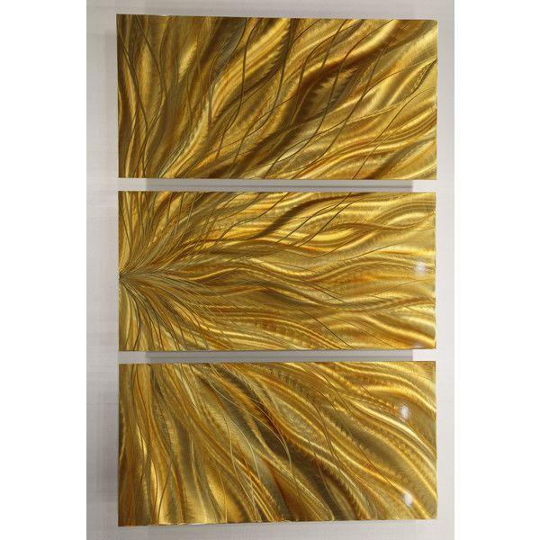 Golden Three-Panel Contemporary Metal Wall Art Accent Original One ...