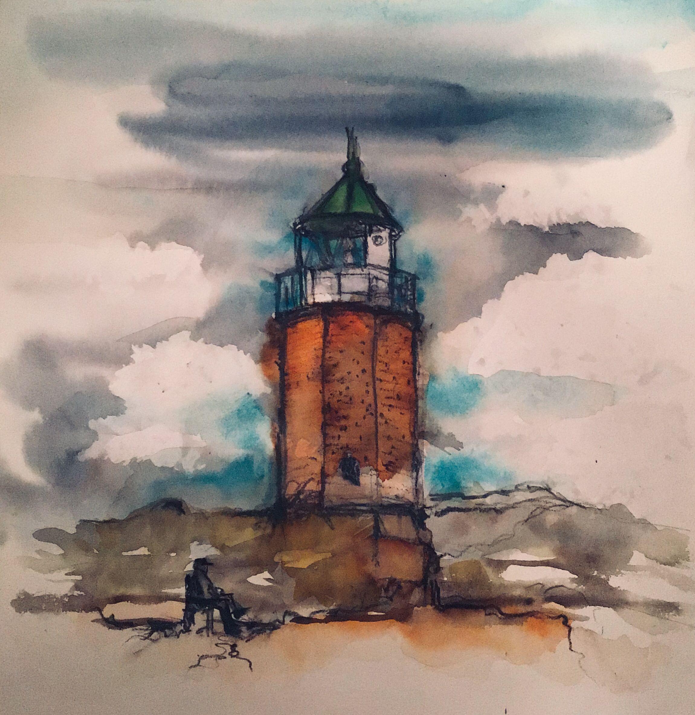 Sylt Leuchtturm Aquarell Watercolour Zeichnung Bildformat 35 X 35