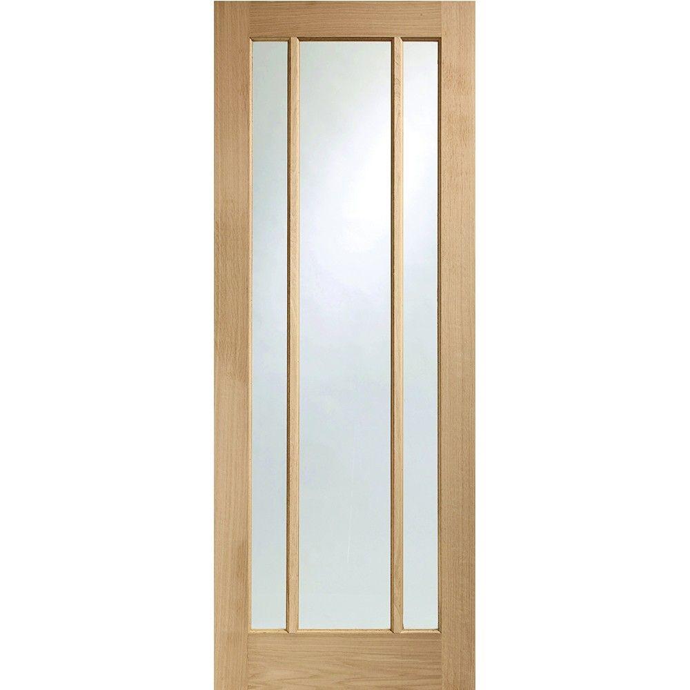 An Unfinished Internal Oak Fd30 Fire Door With 3 Long Rectangular