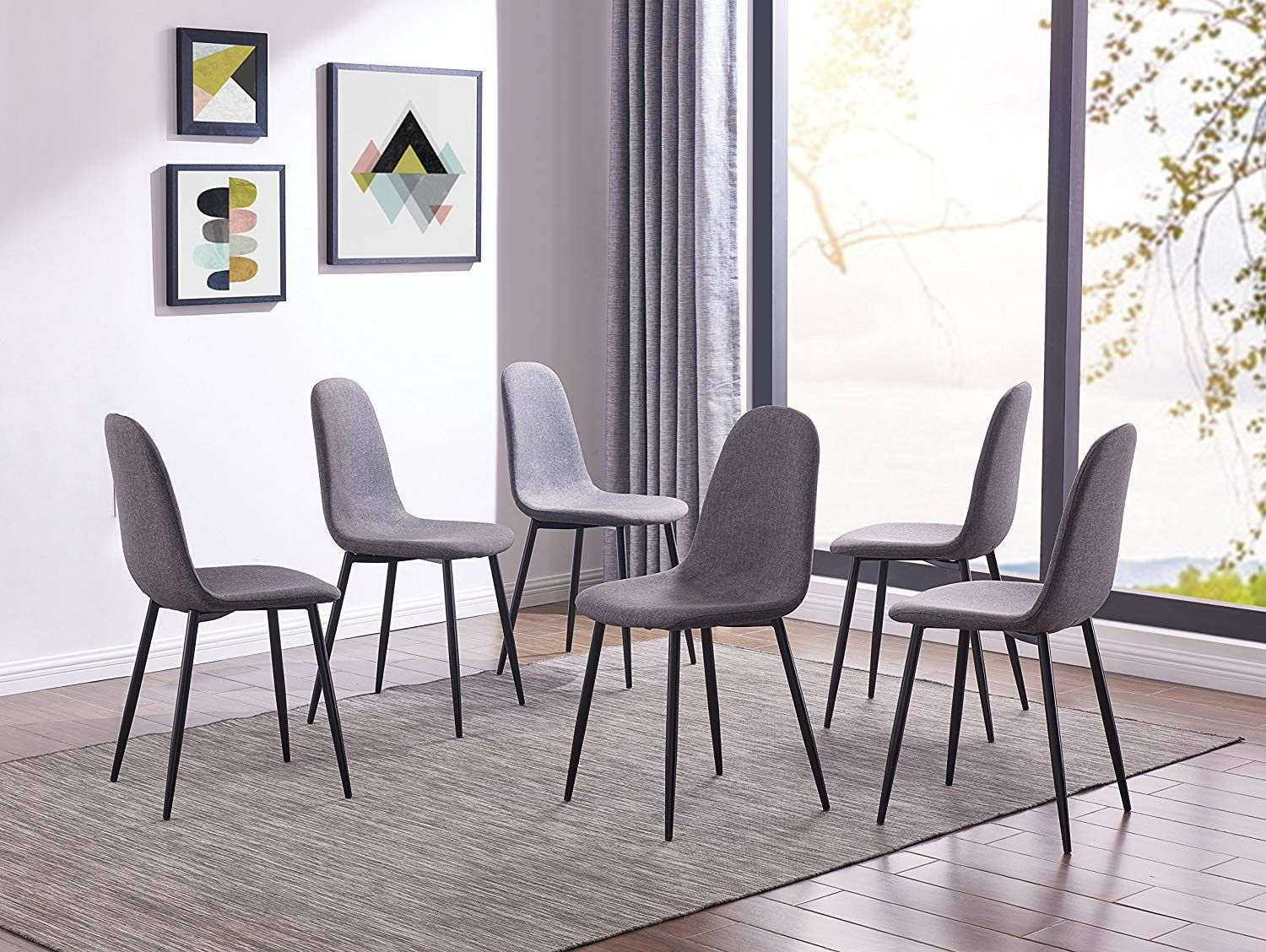 Ids Eames Style Dining Chairs Fabric Cushion Seat Side Chair