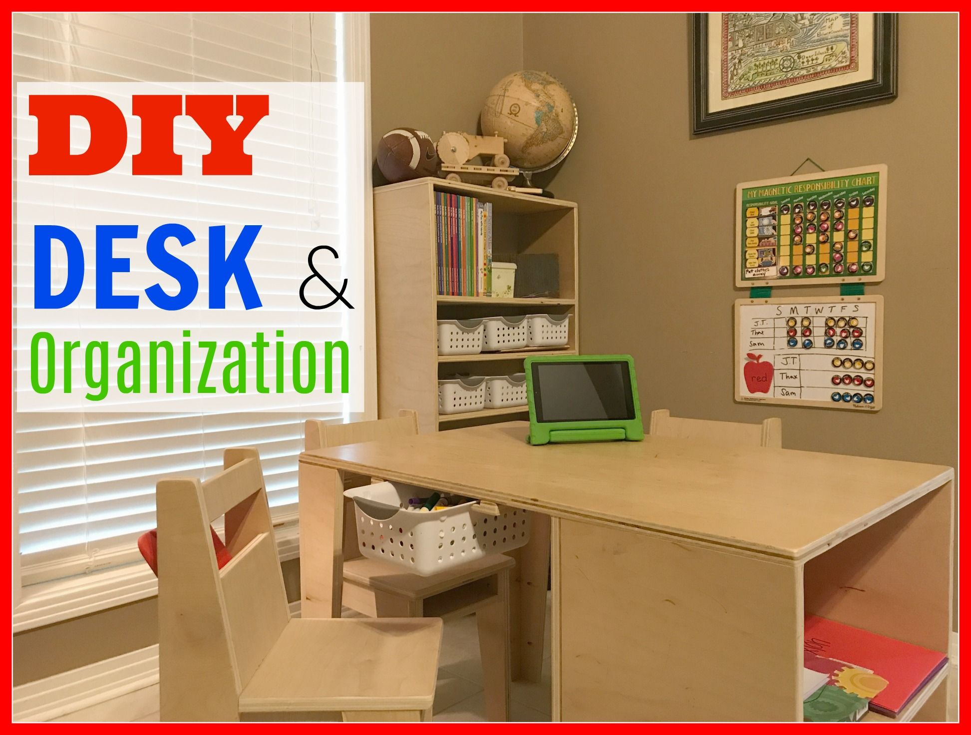 DIY Storage and Organization in a Kids Learning Center. Use plywood for the entire project. PLANS AVAILABLE  sc 1 st  Pinterest & DIY Desk and Organization | Organizations Project ideas and Woodworking