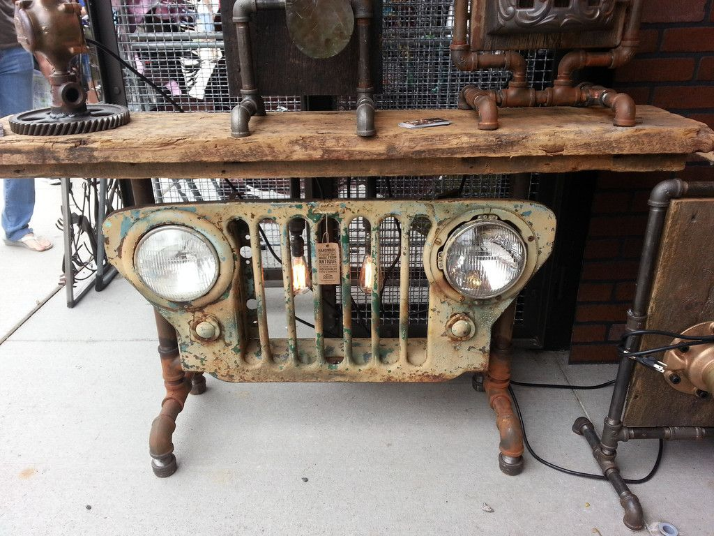 Industrial Antique Jeep Cj Military Grill Table Or Lamp Stand Help Old Style Chrome Clamp On Turn Signal The Hamb
