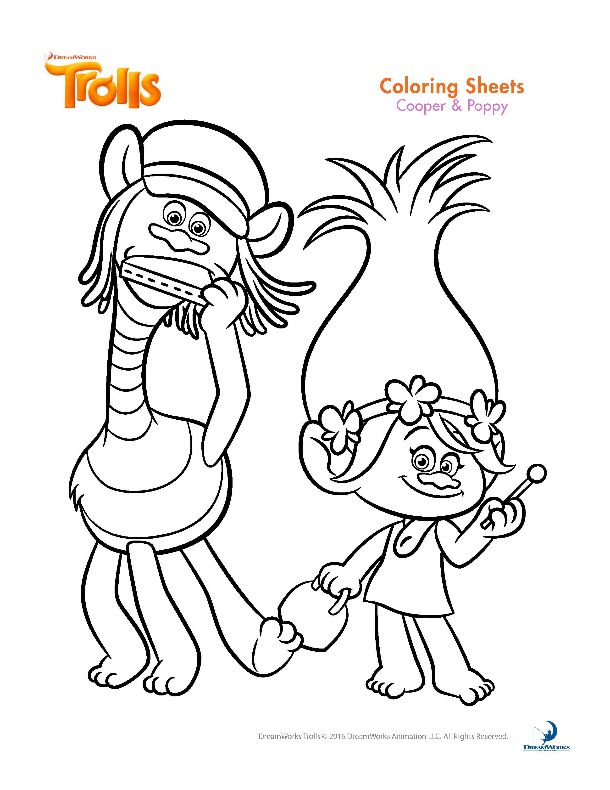 Trolls Coloring Pages And Printable Activity Sheets